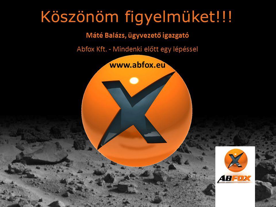 Köszönöm figyelmüket!!! Máté Balázs, ügyvezető igazgató Abfox Kft. - Mindenki előtt egy lépéssel www.abfox.eu