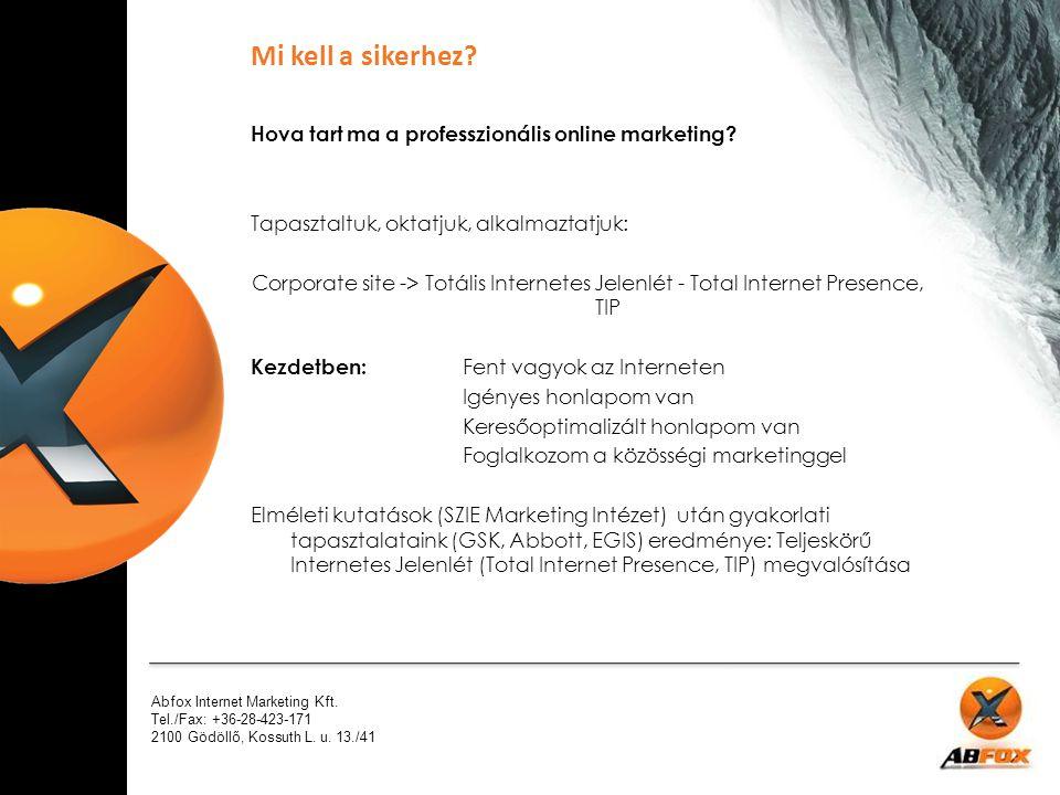 Abfox Internet Marketing Kft. Tel./Fax: +36-28-423-171 2100 Gödöllő, Kossuth L. u. 13./41 Hova tart ma a professzionális online marketing? Tapasztaltu