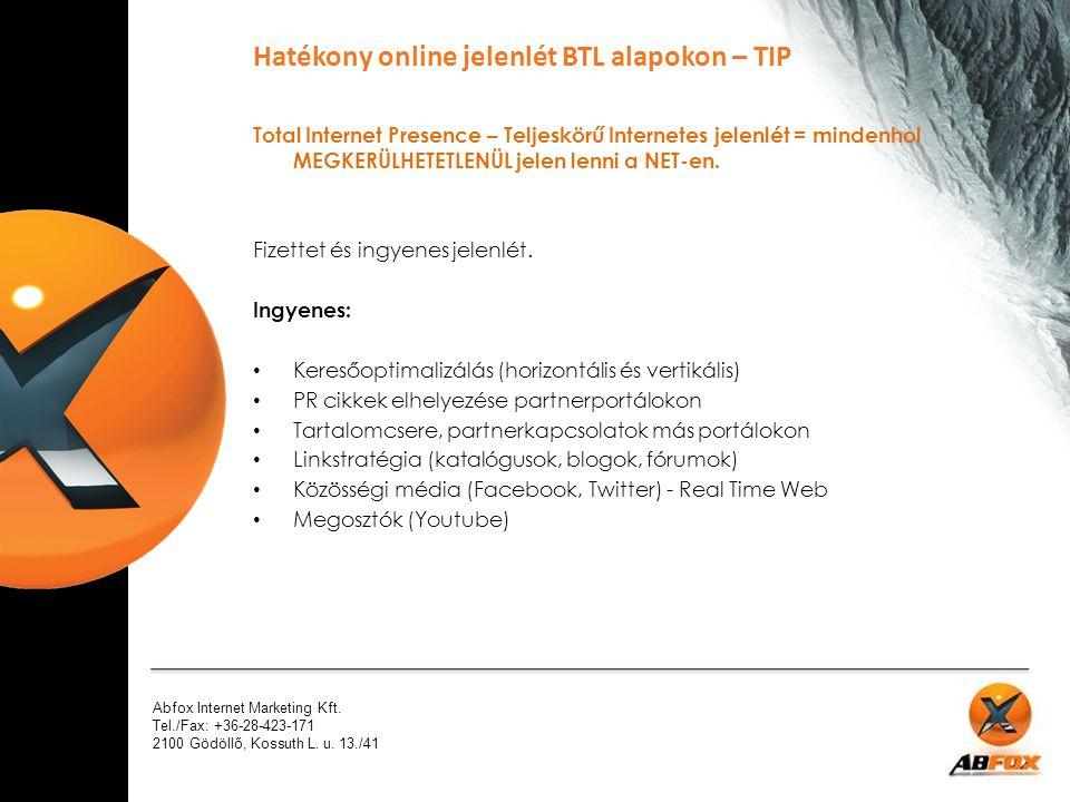 Abfox Internet Marketing Kft. Tel./Fax: +36-28-423-171 2100 Gödöllő, Kossuth L. u. 13./41 Total Internet Presence – Teljeskörű Internetes jelenlét = m