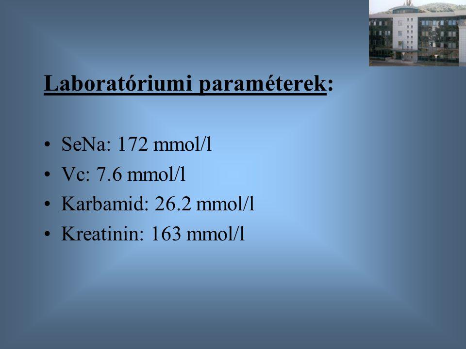 Laboratóriumi paraméterek: SeNa: 172 mmol/l Vc: 7.6 mmol/l Karbamid: 26.2 mmol/l Kreatinin: 163 mmol/l