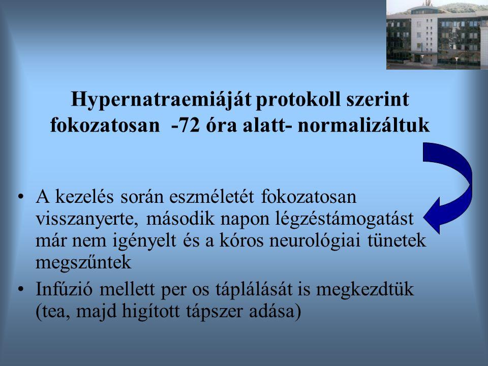 Hypernatraemiáját protokoll szerint fokozatosan -72 óra alatt- normalizáltuk A kezelés során eszméletét fokozatosan visszanyerte, második napon légzés