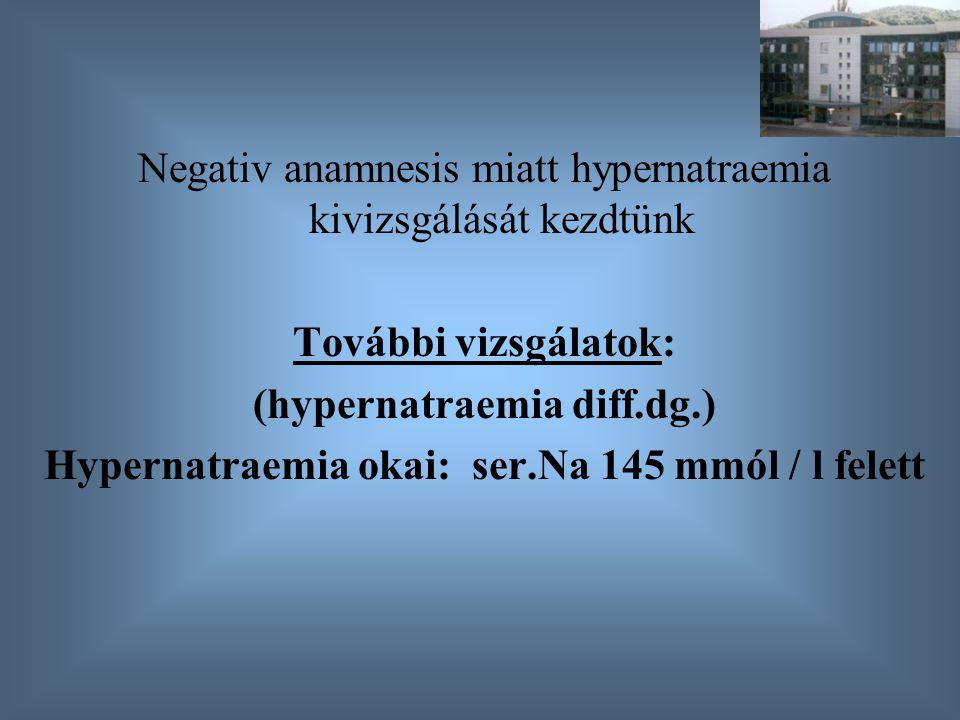 Negativ anamnesis miatt hypernatraemia kivizsgálását kezdtünk További vizsgálatok: (hypernatraemia diff.dg.) Hypernatraemia okai: ser.Na 145 mmól / l