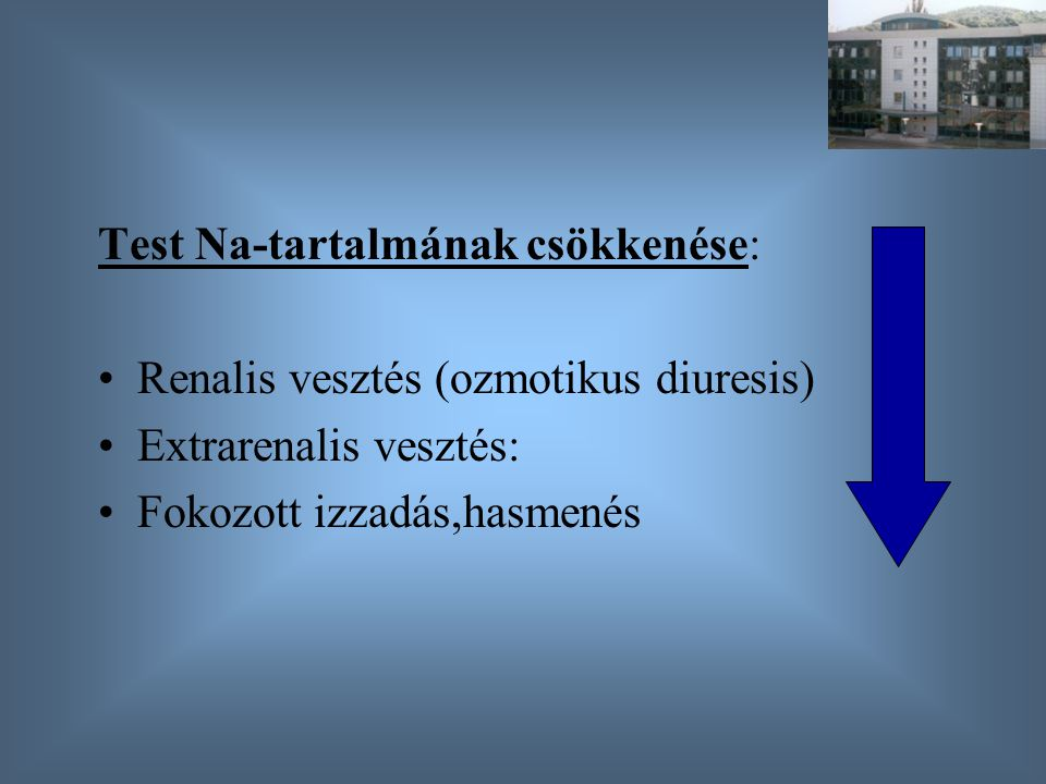 Test Na-tartalmának csökkenése: Renalis vesztés (ozmotikus diuresis) Extrarenalis vesztés: Fokozott izzadás,hasmenés