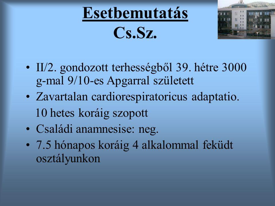 Esetbemutatás Cs.Sz. II/2. gondozott terhességből 39. hétre 3000 g-mal 9/10-es Apgarral született Zavartalan cardiorespiratoricus adaptatio. 10 hetes