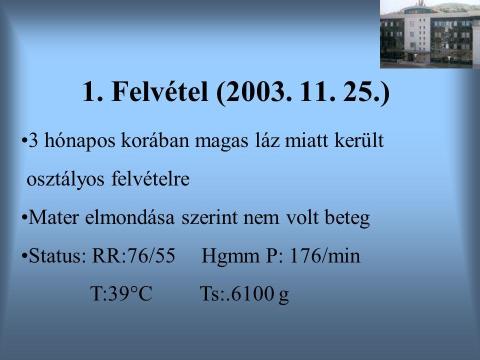 1. Felvétel (2003. 11. 25.) 3 hónapos korában magas láz miatt került osztályos felvételre Mater elmondása szerint nem volt beteg Status: RR:76/55 Hgmm