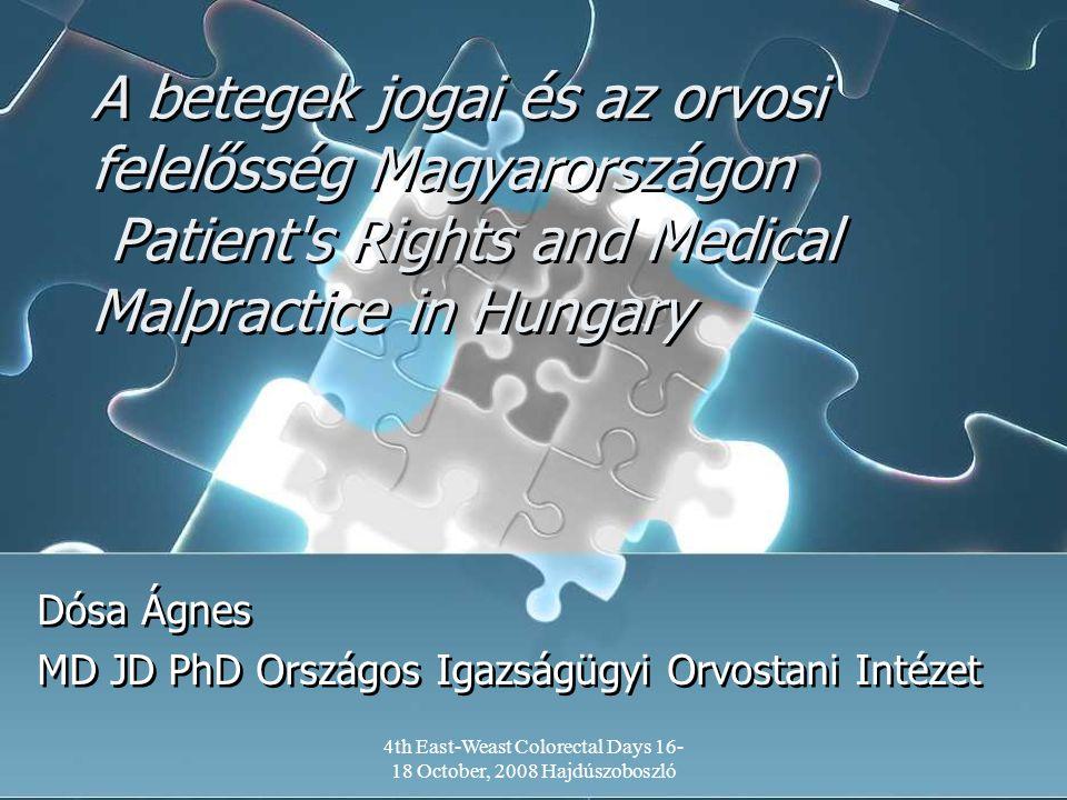 4th East-Weast Colorectal Days 16- 18 October, 2008 Hajdúszoboszló A betegek jogai és az orvosi felelősség Magyarországon Patient's Rights and Medical