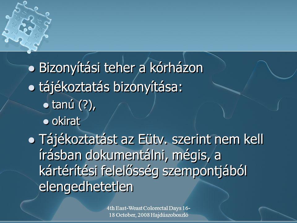 4th East-Weast Colorectal Days 16- 18 October, 2008 Hajdúszoboszló Bizonyítási teher a kórházon tájékoztatás bizonyítása: tanú (?), okirat Tájékoztatást az Eütv.