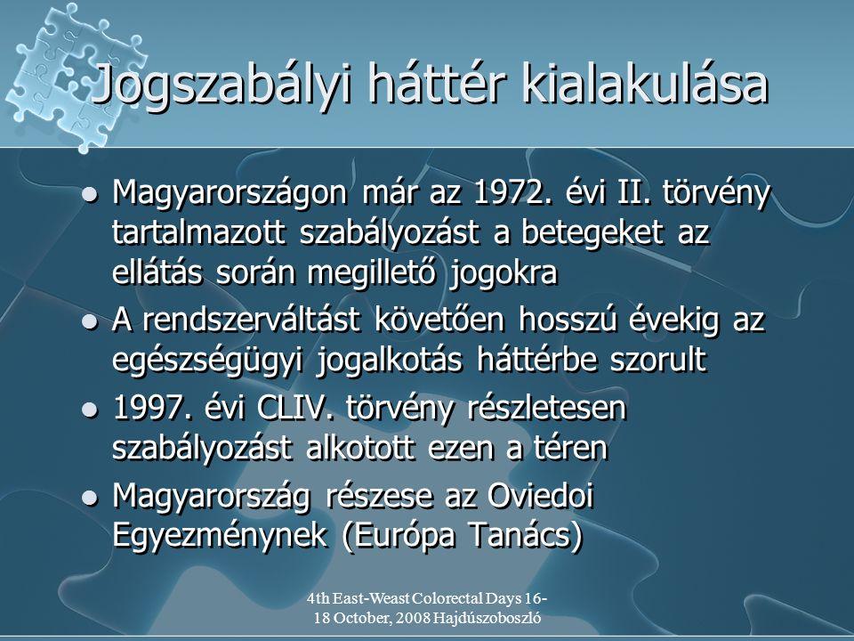4th East-Weast Colorectal Days 16- 18 October, 2008 Hajdúszoboszló Jogszabályi háttér kialakulása Magyarországon már az 1972.