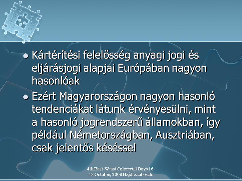 4th East-Weast Colorectal Days 16- 18 October, 2008 Hajdúszoboszló Kártérítési felelősség anyagi jogi és eljárásjogi alapjai Európában nagyon hasonlóak Ezért Magyarországon nagyon hasonló tendenciákat látunk érvényesülni, mint a hasonló jogrendszerű államokban, így például Németországban, Ausztriában, csak jelentős késéssel Kártérítési felelősség anyagi jogi és eljárásjogi alapjai Európában nagyon hasonlóak Ezért Magyarországon nagyon hasonló tendenciákat látunk érvényesülni, mint a hasonló jogrendszerű államokban, így például Németországban, Ausztriában, csak jelentős késéssel