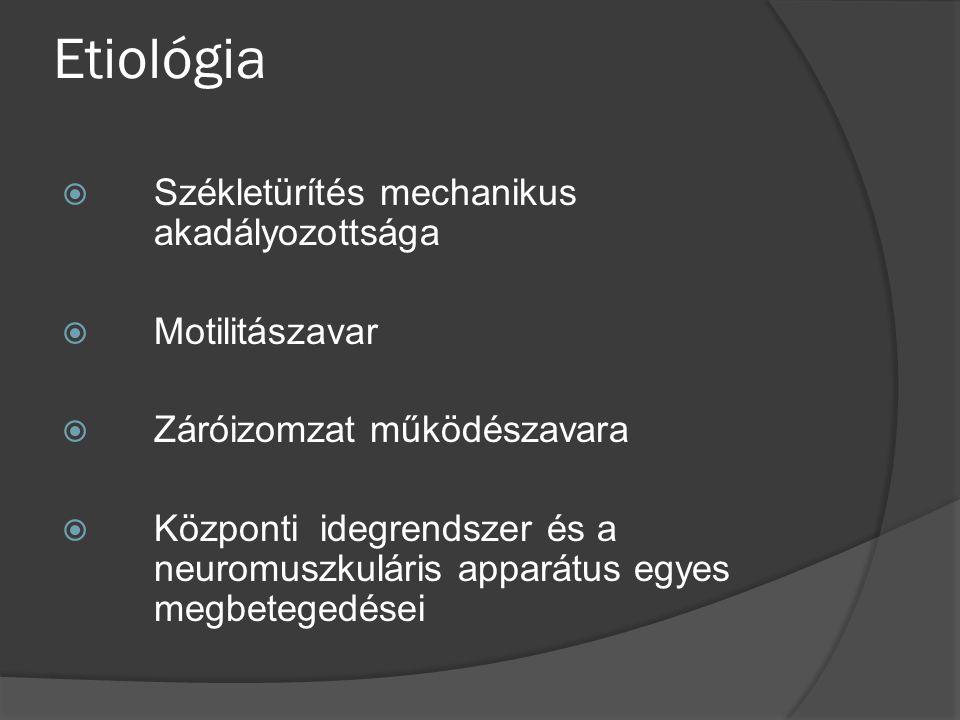 Kivizsgálás elemei  Anamnesis, fizikális vizsgálat  Rectomanometria  Ultrahang  Irrigoscopia  Biopsia