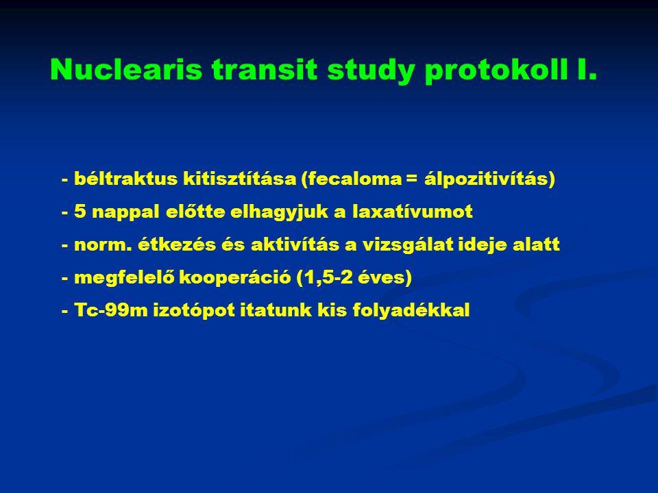 Nuclearis transit study protokoll I. - béltraktus kitisztítása (fecaloma = álpozitivítás) - 5 nappal előtte elhagyjuk a laxatívumot - norm. étkezés és