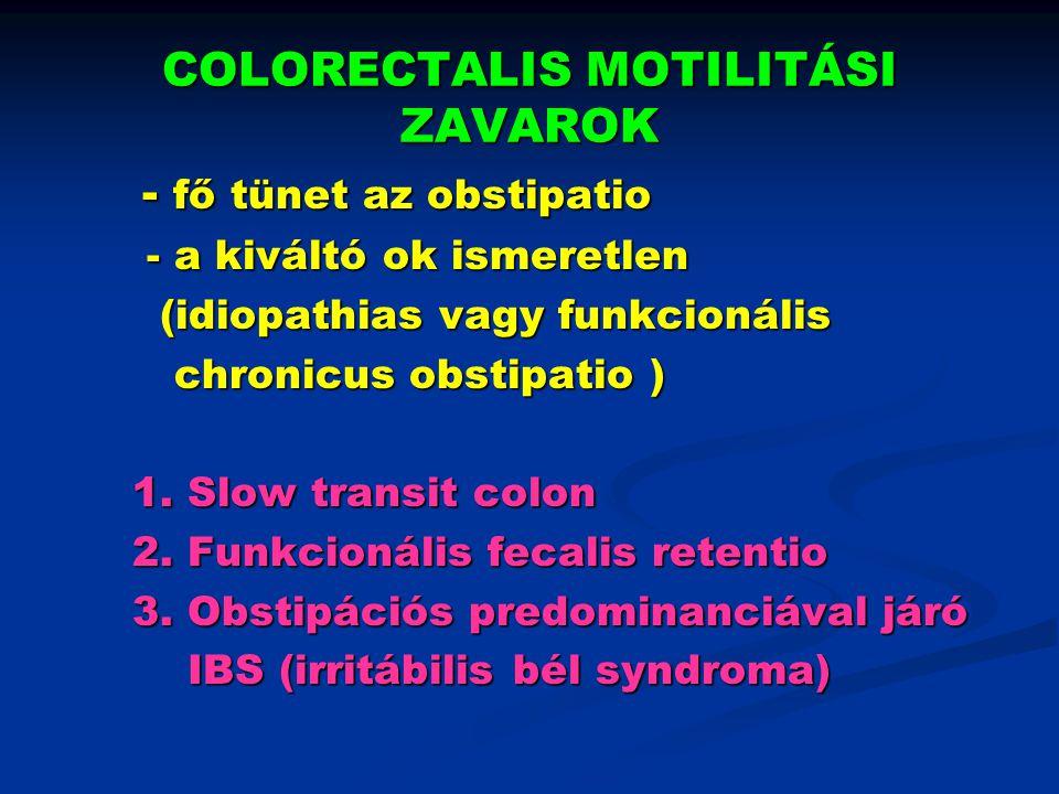 KIVIZSGÁLÁSI ALGORITMUS Chronicus obstipatio anyagcsere betegség kizárása 6-12 hónapig diéta, laxativum, psychotherápia javulás nincs lassú transit a colon anorectalis torlódás prox.