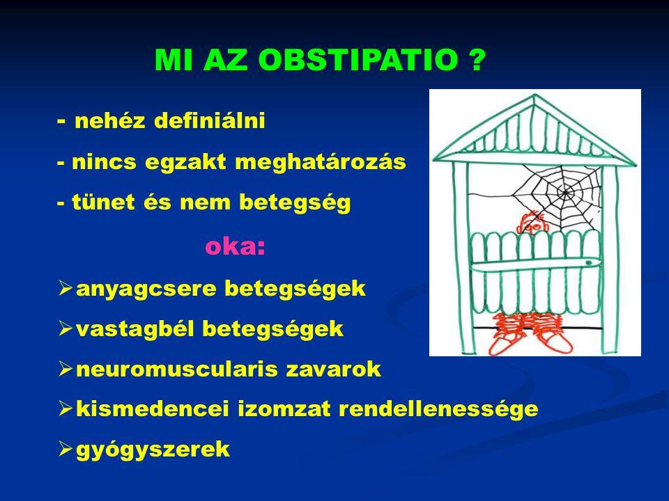 MI AZ OBSTIPATIO ? - nehéz definiálni - nincs egzakt meghatározás - tünet és nem betegség oka:  anyagcsere betegségek  vastagbél betegségek  neurom