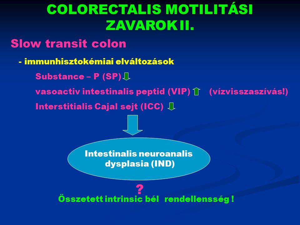 COLORECTALIS MOTILITÁSI ZAVAROK II. - immunhisztokémiai elváltozások Substance – P (SP) vasoactiv intestinalis peptid (VIP) (vízvisszaszívás!) Interst