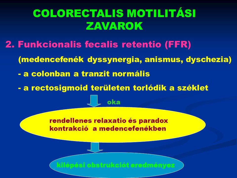 COLORECTALIS MOTILITÁSI ZAVAROK 2. Funkcionalis fecalis retentio (FFR) (medencefenék dyssynergia, anismus, dyschezia) - a colonban a tranzit normális