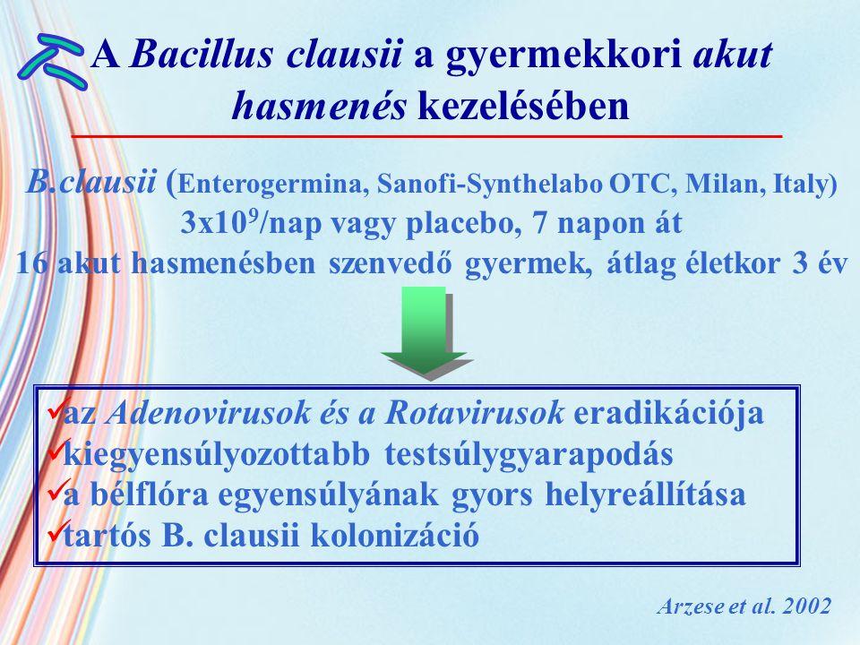B.clausii ( Enterogermina, Sanofi-Synthelabo OTC, Milan, Italy) 3x10 9 /nap vagy placebo, 7 napon át 16 akut hasmenésben szenvedő gyermek, átlag életk
