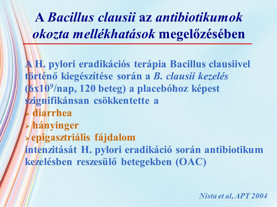 A H. pylori eradikációs terápia Bacillus clausiivel történő kiegészítése során a B. clausii kezelés (6x10 9 /nap, 120 beteg) a placebóhoz képest szign