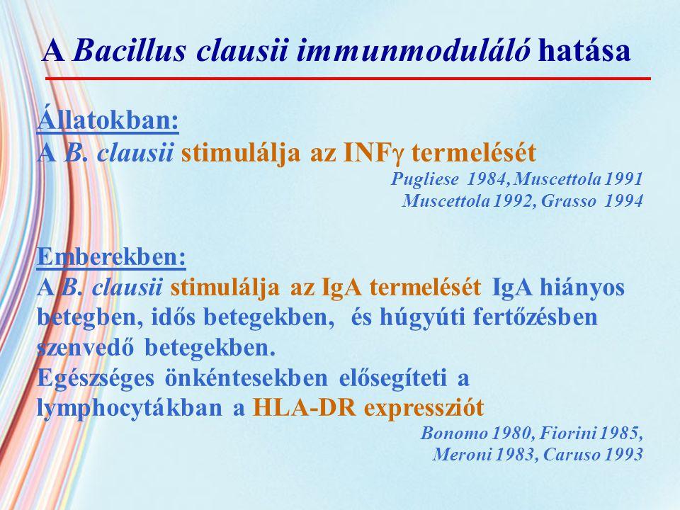 Állatokban: A B. clausii stimulálja az INF  termelését Pugliese 1984, Muscettola 1991 Muscettola 1992, Grasso 1994 Emberekben: A B. clausii stimulálj