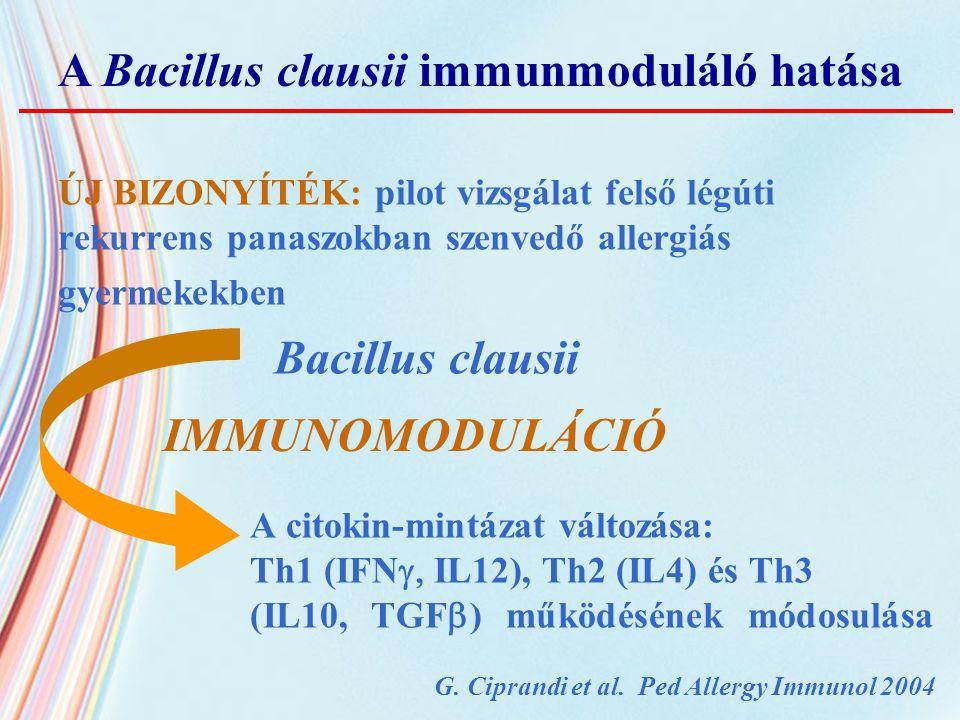 ÚJ BIZONYÍTÉK: pilot vizsgálat felső légúti rekurrens panaszokban szenvedő allergiás gyermekekben Bacillus clausii A citokin-mintázat változása: Th1 (