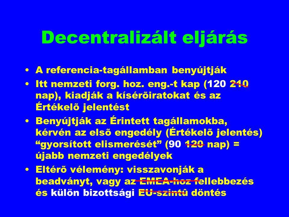Decentralizált eljárás A referencia-tagállamban benyújtják Itt nemzeti forg. hoz. eng.-t kap (120 210 nap), kiadják a kísérõiratokat és az Értékelõ je