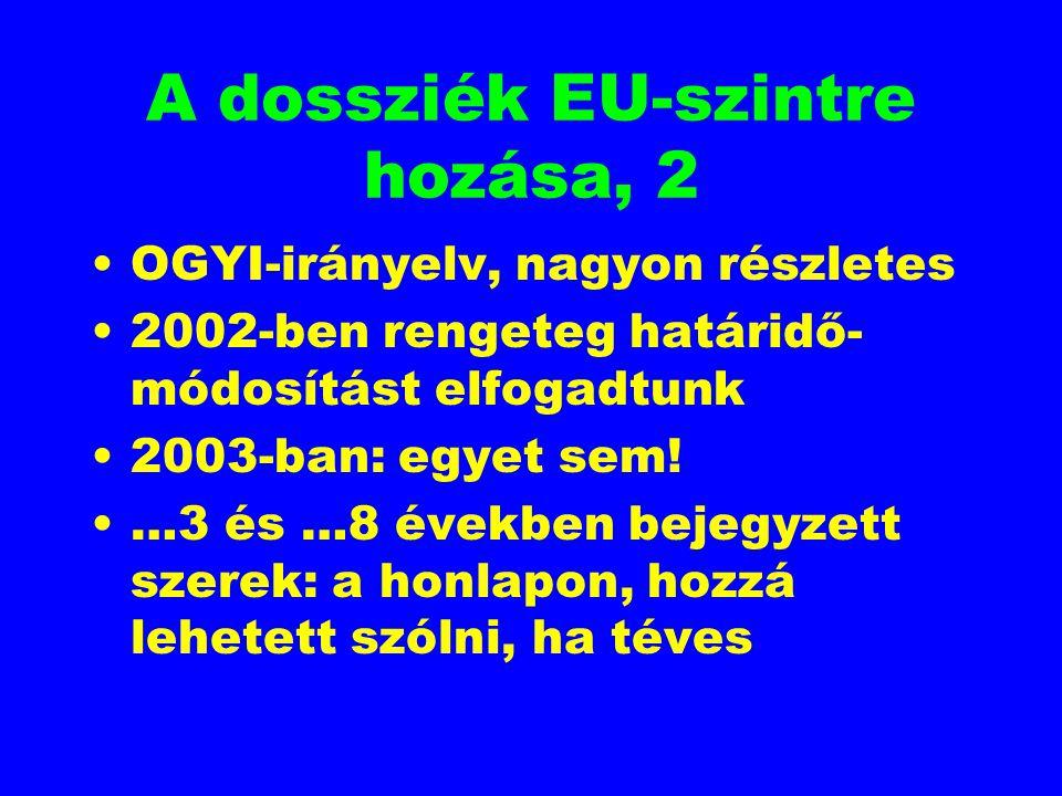 A dossziék EU-szintre hozása, 2 OGYI-irányelv, nagyon részletes 2002-ben rengeteg határidő- módosítást elfogadtunk 2003-ban: egyet sem! …3 és …8 évekb