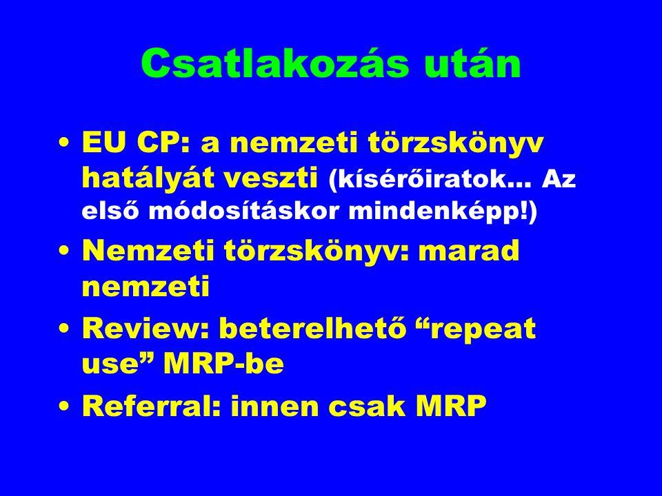 Csatlakozás után EU CP: a nemzeti törzskönyv hatályát veszti (kísérőiratok… Az első módosításkor mindenképp!) Nemzeti törzskönyv: marad nemzeti Review