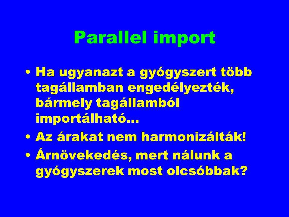 Parallel import Ha ugyanazt a gyógyszert több tagállamban engedélyezték, bármely tagállamból importálható… Az árakat nem harmonizálták! Árnövekedés, m