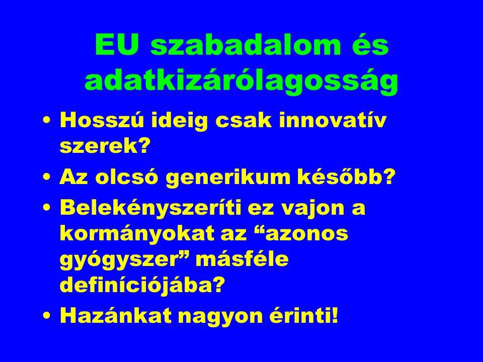 """EU szabadalom és adatkizárólagosság Hosszú ideig csak innovatív szerek? Az olcsó generikum később? Belekényszeríti ez vajon a kormányokat az """"azonos g"""