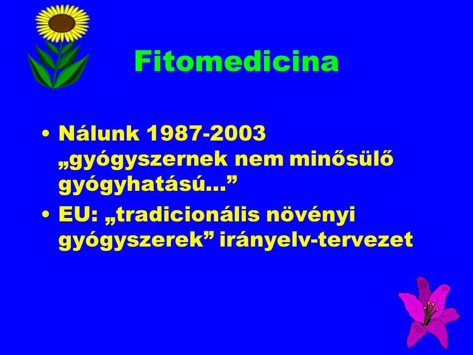 """Fitomedicina Nálunk 1987-2003 """"gyógyszernek nem minősülő gyógyhatású…"""" EU: """"tradicionális növényi gyógyszerek"""" irányelv-tervezet"""