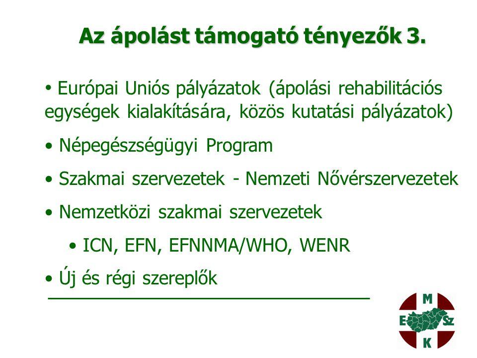 Az ápolást támogató tényezők 3. Európai Uniós pályázatok (ápolási rehabilitációs egységek kialakítására, közös kutatási pályázatok) Népegészségügyi Pr