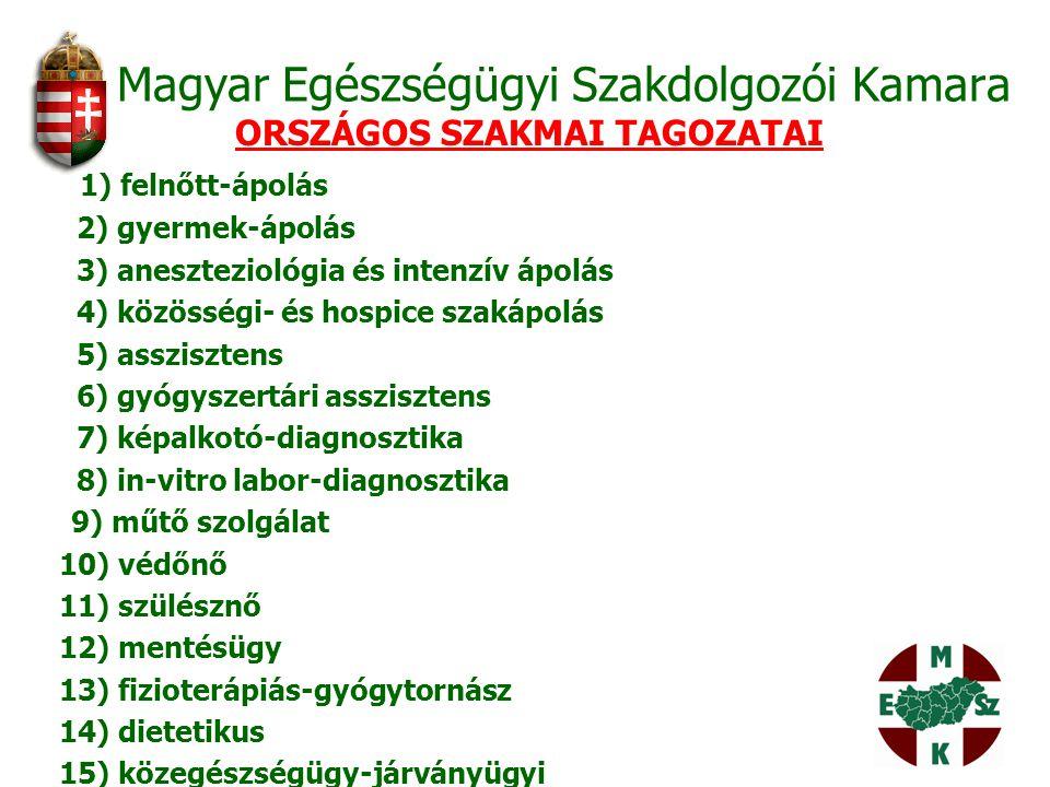 Magyar Egészségügyi Szakdolgozói Kamara ORSZÁGOS SZAKMAI TAGOZATAI 1) felnőtt-ápolás 2) gyermek-ápolás 3) aneszteziológia és intenzív ápolás 4) közöss