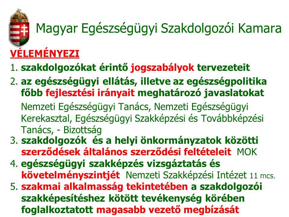 Magyar Egészségügyi Szakdolgozói Kamara VÉLEMÉNYEZI 1. szakdolgozókat érintő jogszabályok tervezeteit 2. az egészségügyi ellátás, illetve az egészségp