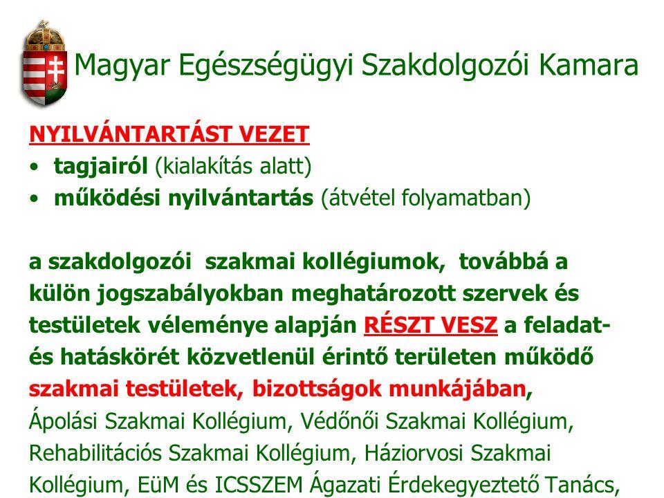 Magyar Egészségügyi Szakdolgozói Kamara NYILVÁNTARTÁST VEZET tagjairól (kialakítás alatt) működési nyilvántartás (átvétel folyamatban) a szakdolgozói