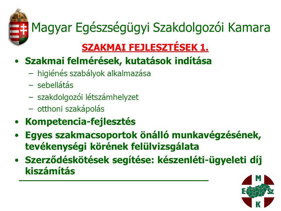 Magyar Egészségügyi Szakdolgozói Kamara SZAKMAI FEJLESZTÉSEK 1. Szakmai felmérések, kutatások indítása –higiénés szabályok alkalmazása –sebellátás –sz