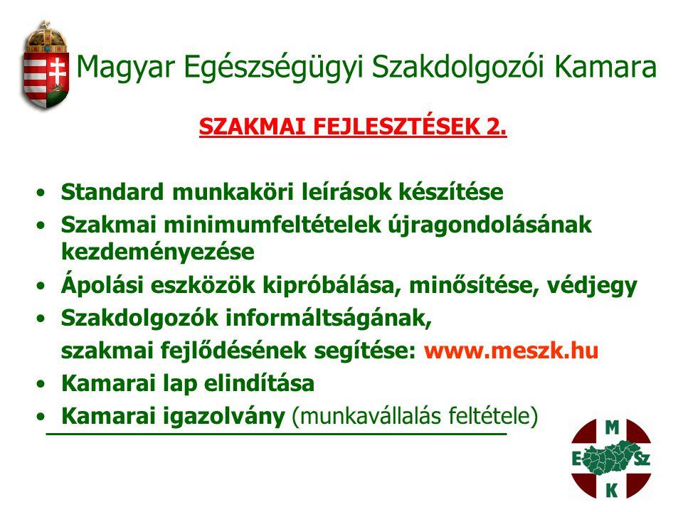 Magyar Egészségügyi Szakdolgozói Kamara SZAKMAI FEJLESZTÉSEK 2. Standard munkaköri leírások készítése Szakmai minimumfeltételek újragondolásának kezde