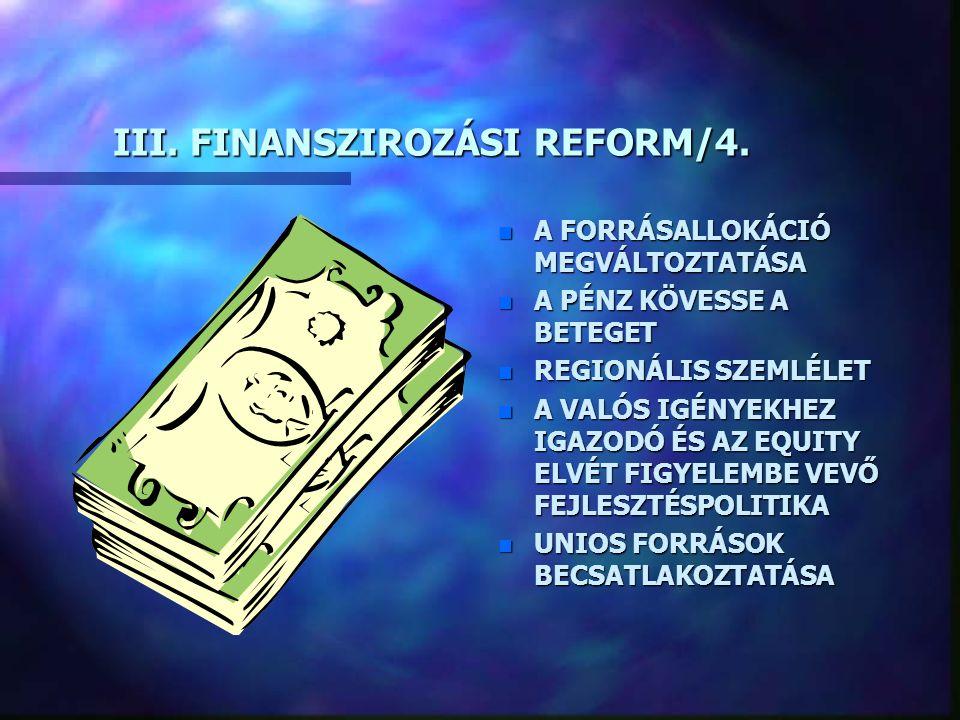 III. FINANSZIROZÁSI REFORM/4. n A FORRÁSALLOKÁCIÓ MEGVÁLTOZTATÁSA n A PÉNZ KÖVESSE A BETEGET n REGIONÁLIS SZEMLÉLET n A VALÓS IGÉNYEKHEZ IGAZODÓ ÉS AZ