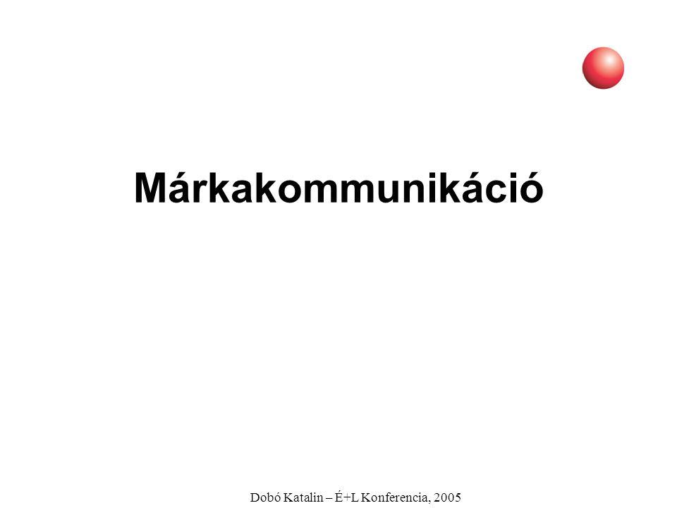 """Dobó Katalin – É+L Konferencia, 2005 Márka Termék: amit a gyártó gyárt Márka: amit a fogyasztó megvásárol """"A gyáramban kozmetikai cikkeket gyártok, a vevők az üzletben azonban reményt vásárolnak. Charles Revson, a Revlon alapítója"""