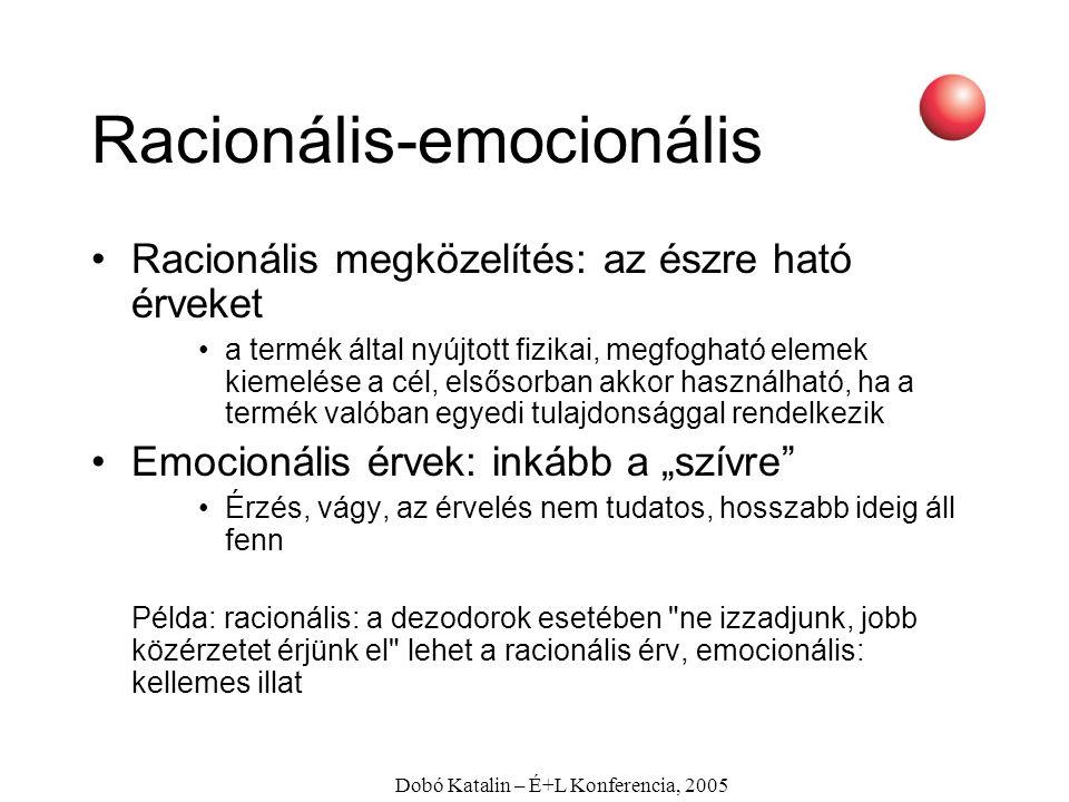 Dobó Katalin – É+L Konferencia, 2005 Racionális-emocionális Racionális megközelítés: az észre ható érveket a termék által nyújtott fizikai, megfogható