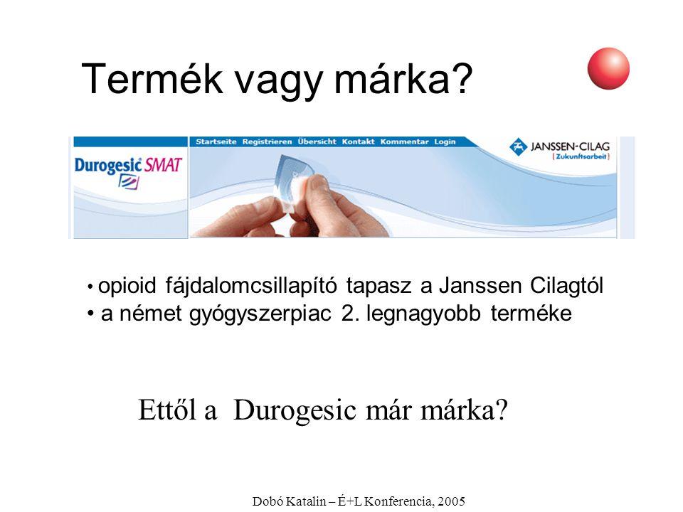 Dobó Katalin – É+L Konferencia, 2005 opioid fájdalomcsillapító tapasz a Janssen Cilagtól a német gyógyszerpiac 2. legnagyobb terméke Ettől a Durogesic