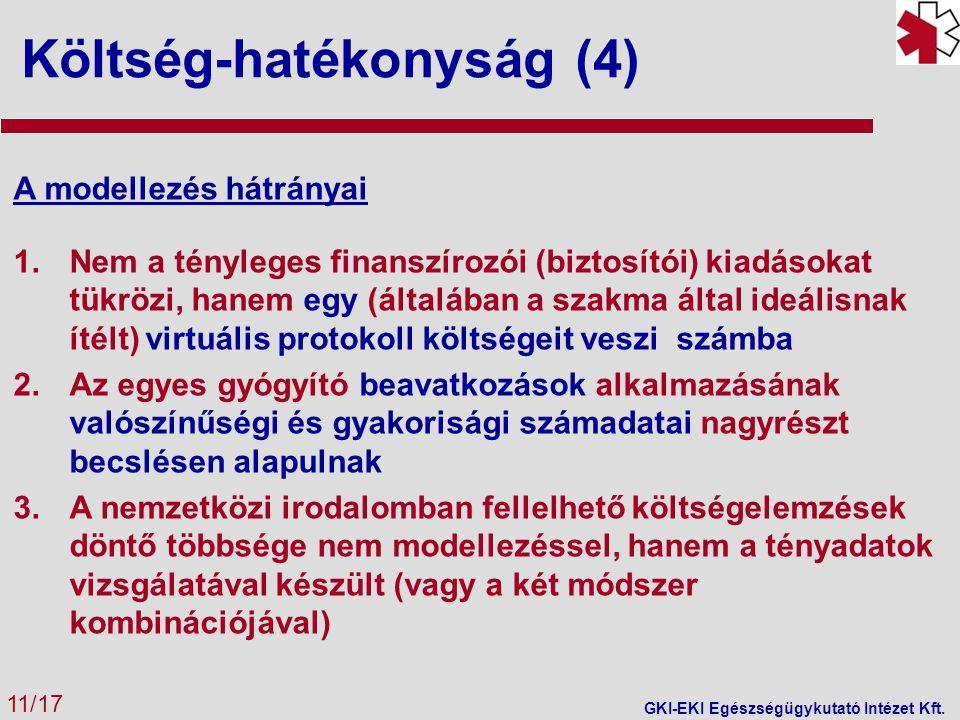 Költség-hatékonyság (4) 11/17 GKI-EKI Egészségügykutató Intézet Kft.