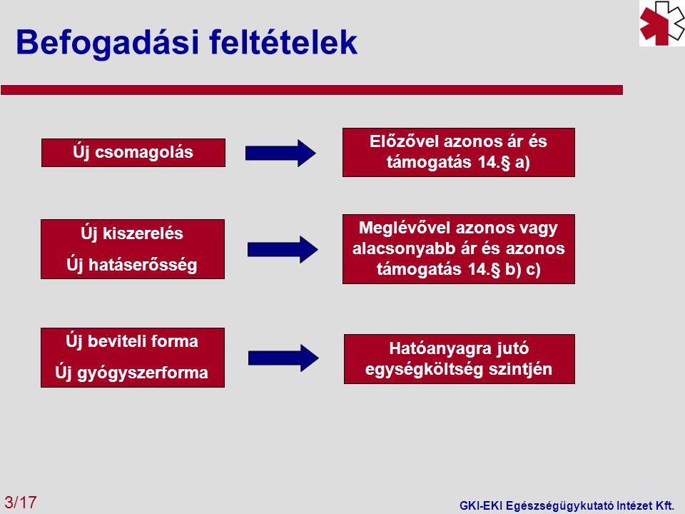 A modell A betegség progressziójának szimulálása 3 kritikus szempont kombinációjával: kognitív állapot (MMSE pont), önállóság, ellátás helye Időtáv: 2 év A vizsgált betegek kezdetben középsúlyosak vagy súlyosak, önállóak vagy ápolásra szorulnak és otthon vagy intézményben kezelik őket Két csoport követése: memantine-nal kezeltek és gyógyszeres terápiában nem részesülők A betegek 6 havonta kerülhetnek egyik állapotból a másikba A 3 szempont kombinációjával összesen 13 különböző állapot = (3x2x2)+1xhalál Célcsoport 65 évnél idősebbek (a kor előrehaladtával nő az incidencia) Állapotok (3 kritérium szerint) –A betegség súlyossága (enyhe, középsúlyos, súlyos) –A beteg elhelyezése (közösség, intézmény) –A betegség miatt kialakult függés (függő, nem függő) Eredmények Mindegyik alpopulációban eredményesebb terápia bármelyik végpontot vizsgáljuk A memantine kezelés költséget takarít meg a hagyományos kezeléssel szemben, minden alpolulációnál, kivéve a súlyos állapotú és a függő betegeket.