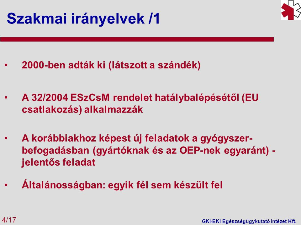 Szakmai irányelvek /1 4/17 GKI-EKI Egészségügykutató Intézet Kft.