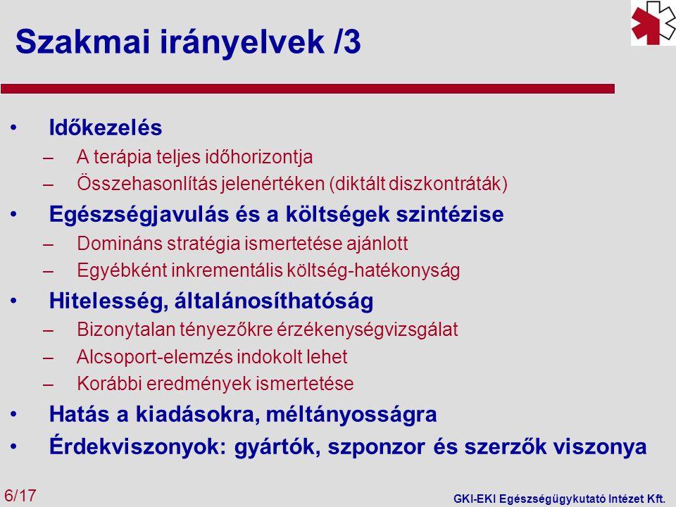 Költség minimalizáció 7/17 GKI-EKI Egészségügykutató Intézet Kft.