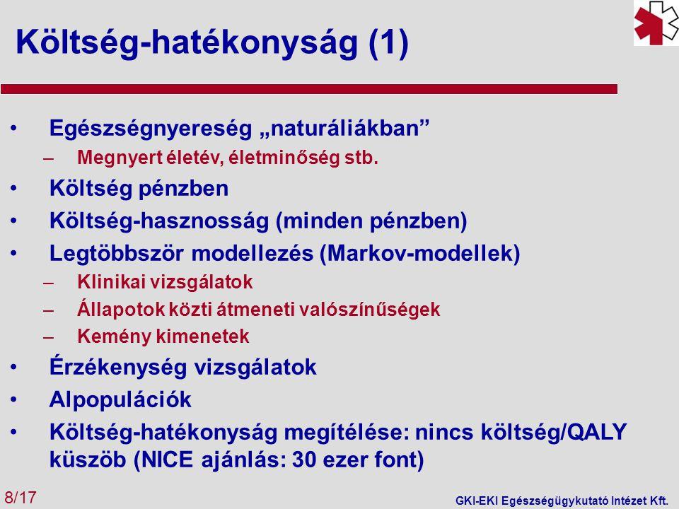 Költség-hatékonyság (2) 9/17 GKI-EKI Egészségügykutató Intézet Kft.
