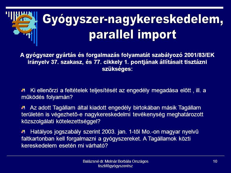 Balázsné dr. Molnár Borbála Országos tisztifőgyógyszerész 10 A gyógyszer gyártás és forgalmazás folyamatát szabályozó 2001/83/EK irányelv 37. szakasz,