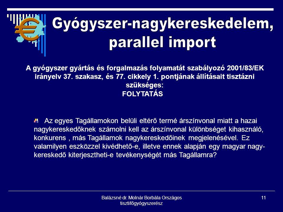 Balázsné dr. Molnár Borbála Országos tisztifőgyógyszerész 11 A gyógyszer gyártás és forgalmazás folyamatát szabályozó 2001/83/EK irányelv 37. szakasz,