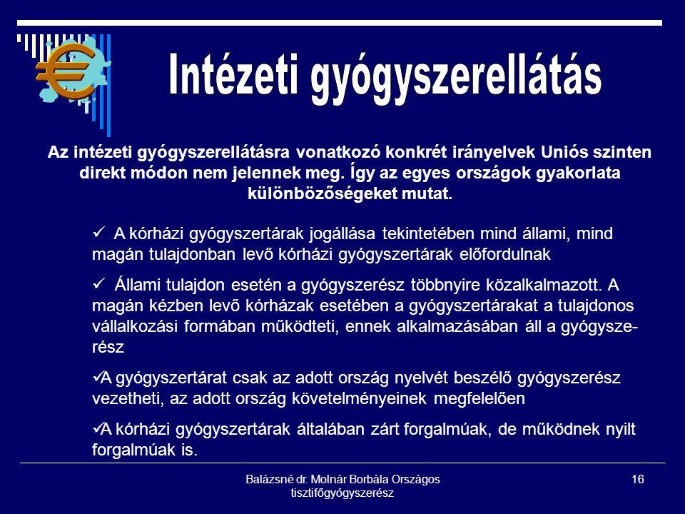 Balázsné dr. Molnár Borbála Országos tisztifőgyógyszerész 16 Az intézeti gyógyszerellátásra vonatkozó konkrét irányelvek Uniós szinten direkt módon ne