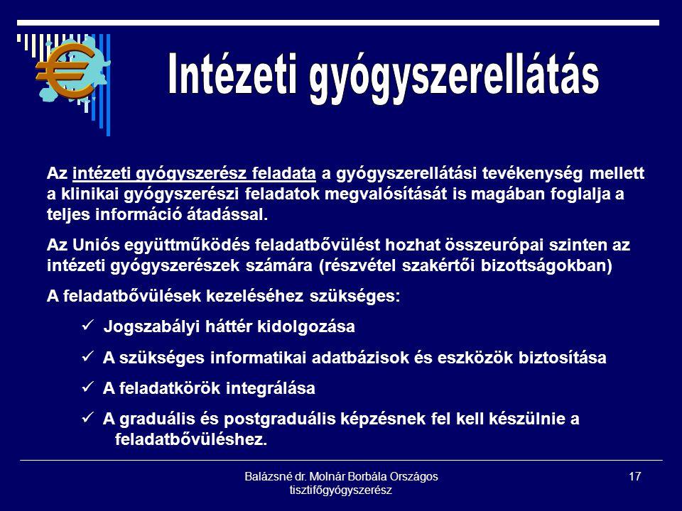 Balázsné dr. Molnár Borbála Országos tisztifőgyógyszerész 17 Az intézeti gyógyszerész feladata a gyógyszerellátási tevékenység mellett a klinikai gyóg