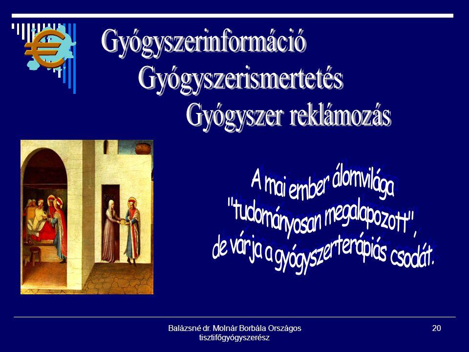 Balázsné dr. Molnár Borbála Országos tisztifőgyógyszerész 20