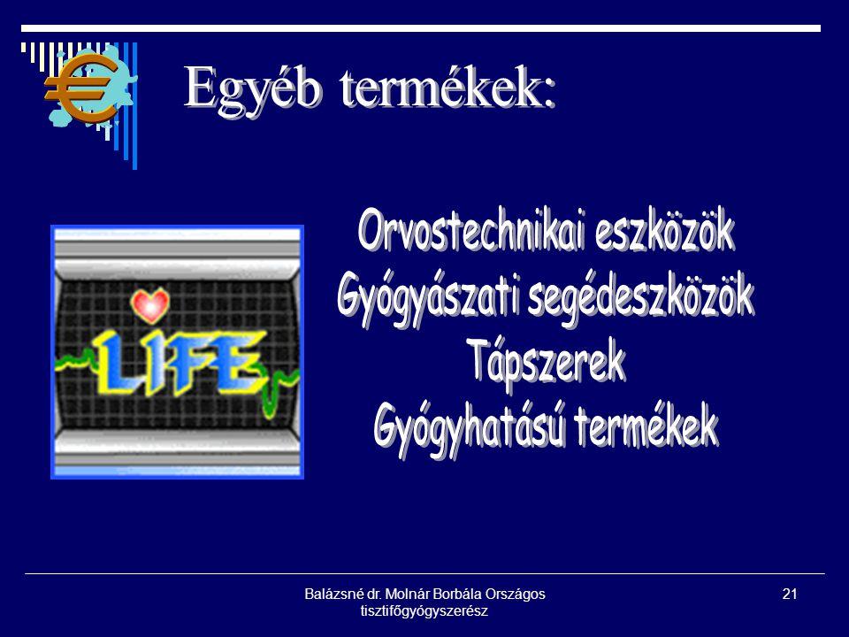 Balázsné dr. Molnár Borbála Országos tisztifőgyógyszerész 21